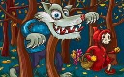 Caperucita Rojo asustadizo y mún lobo grande Fotos de archivo libres de regalías