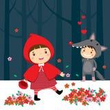 Caperucita Rojo y lobo gris stock de ilustración