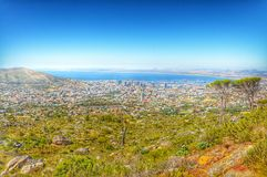 Capetown. Beautiful view of Capetown on the side of Table mountain Stock Image