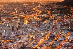 Capetown miasto zaświeca Południowa Afryka Zdjęcie Royalty Free