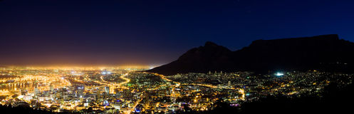Capetown at night. Panorama of capetown at night royalty free stock photo