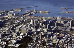 Capetown - South Africa. City and port of Capetown in South Africa. Viewed from the top of Table Mountain Stock Photos
