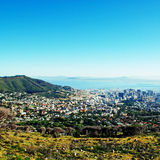 Capetown and Table Bay(South Africa). Aerial view of Capetown and Table Bay(South Africa), square toned image stock images