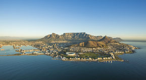 Capetown Table Mountain aerial South Africa. An aerial view of Table Mountain and the city bowl in Capetown South Africa Royalty Free Stock Images