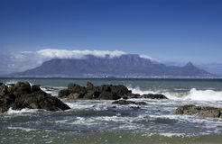 Capetown - Table Mountain - South Africa. View of Table Mountain and the city of Capetown in South Africa. Viewed from Bloubergrant Beach Royalty Free Stock Photos