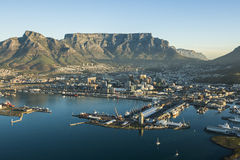 Capetown Table Mountain South Africa. An aerial view of Table Mountain and the city bowl in Capetown South Africa Royalty Free Stock Photo