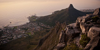 Capetown Table Mountain South Africa. A sunset image of the Capetown city South Africa Stock Photos