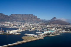 Capetown. View from the helicopter over capetown with its harbour, the lions head and the famous tablemountain Stock Photos