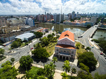 Capibaribe river, Santa Isabel Theater in Recife, Brazil.  Royalty Free Stock Images
