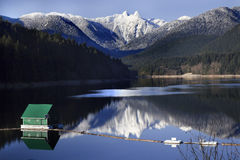Capilano Lake Snowy Two Lions Mountains Vancouver Stock Photography