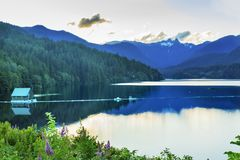 Capilano Reservoir Lake Snowy Two Lions Mountains Vancouver Brit Royalty Free Stock Photo