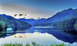 Capilano Reservoir Lake Snowy Two Lions Mountains Vancouver Brit Stock Photos