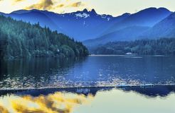 Capilano Reservoir Lake Snowy Two Lions Mountains Vancouver Brit Stock Image