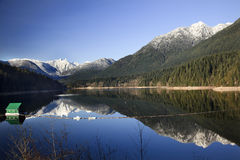 Capilano Reservoir Snowy Mountains Vancouver Stock Image