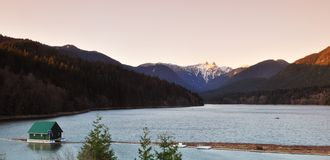 Capilano River and the lions mountain Royalty Free Stock Photo