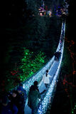 Capilano Suspension bridge lighted up at night. The Capilano suspension bridge in Vancouver, Canada is lighted up for Christmas and New Year on New Year`s eve of stock photos