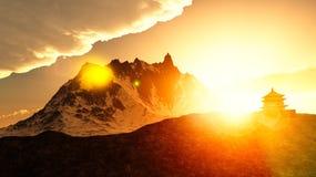 Capilla budista en montañas Imagen de archivo libre de regalías
