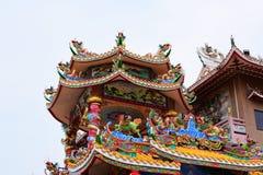 Capilla china del arte en Tailandia Es la adoración de la gente en Chonburi, Tailandia Fotografía de archivo