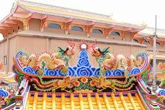 Capilla china del arte en Tailandia Es la adoración de la gente en Chonburi, Tailandia Foto de archivo libre de regalías