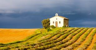 Capilla con el campo de la lavanda, Provence Fotografía de archivo