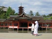 Capilla de Miyajima Itsukushima, puerta de Torii Imágenes de archivo libres de regalías