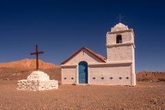 Capilla de San Isidro en el desierto de Atacama cerca de San Pedro, Chile fotografía de archivo