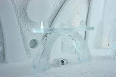 Capilla del interior del hotel del hielo de Quebec Imagenes de archivo