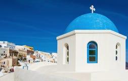 Capilla griega en Santorini Foto de archivo libre de regalías