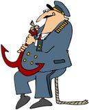 Capitán de mar que lleva un ancla stock de ilustración
