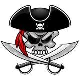 Capit?n del pirata del cr?neo con el ejemplo cruzado del vector de los sables aislado en blanco fotografía de archivo