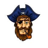Capitán del pirata de la historieta con el tubo que fuma Foto de archivo libre de regalías