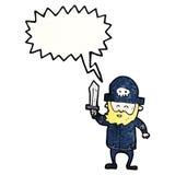 capitán del pirata de la historieta que da órdenes Imágenes de archivo libres de regalías