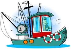 Capitán On His Boat ilustración del vector