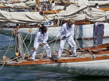 Capitães no iate e no detalhe velho do navio de navigação Foto de Stock Royalty Free