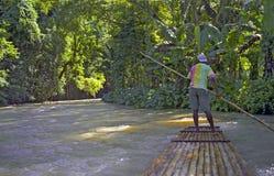Capitão da jangada no rio - Ochos Rios imagens de stock royalty free