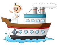 Capitão de navio dos desenhos animados que aponta em um navio Fotografia de Stock