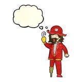 capitão do pirata dos desenhos animados com bolha do pensamento Imagens de Stock Royalty Free