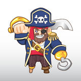 Capitão Illustration do pirata do vetor Imagem de Stock