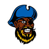 Capitão irritado do pirata dos desenhos animados com remendo do olho Fotografia de Stock Royalty Free
