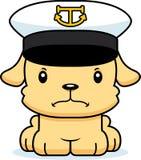 Capitão irritado Puppy do barco dos desenhos animados Fotos de Stock