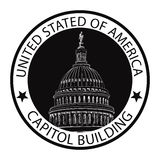 Capitólio do Washington DC, EUA Etiqueta do selo do marco Fotografia de Stock Royalty Free