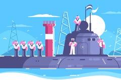 Capitaine avec l'équipage sur le sous-marin Image libre de droits