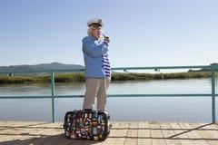 Capitaine dans le voyage de touristes Image libre de droits
