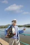 Capitaine dans le voyage de touristes Photographie stock libre de droits