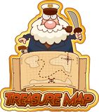 Capitaine de la marine marchande de bande dessinée Treasure Map Photo stock