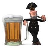 capitaine de la marine marchande de l'illustration 3d avec le tuyau de tabagisme Images stock