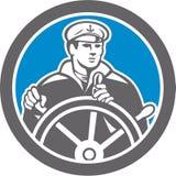 Capitaine de la marine marchande de pêcheur Circle Retro Photos libres de droits