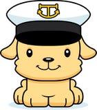 Capitaine de sourire Puppy de bateau de bande dessinée Photos stock