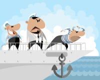 Capitaine et deux marins illustration stock