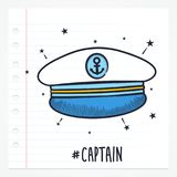 Capitaine Hat Icon de griffonnage de vecteur illustration stock